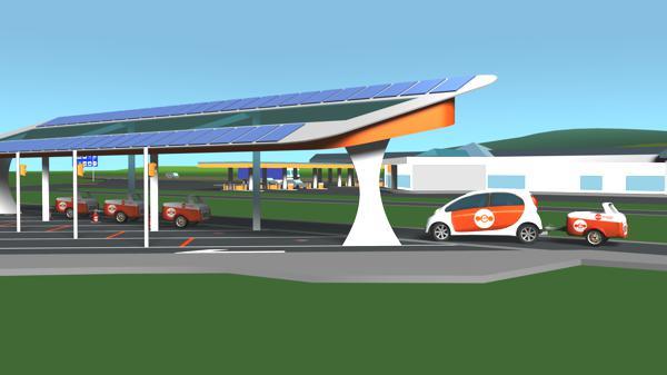 """Bild: © ebuggy GmbH - 2012 - Mit dem ebuggy koppelt sich der Fahrer eines Elektroautos einfach Zusatzenergie an - und tauscht sie gegen neue aus, wenn der Anhämnger """"leer"""" gefahren ist."""