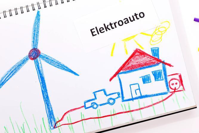 Umweltfreundlich mit Elektroantrieb. - fotolia.com - windrad elektroauto © shootingankauf